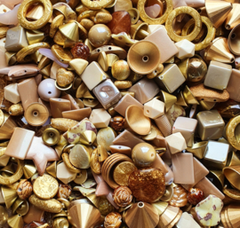 Luxe acryl kralen mix goud (250 gram)  Kies voor pakketpost