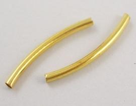 50 stuks metalen buisjes verguld  25 x 2mm gat c.a. 1,2mm