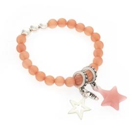 Prachtige Biba Armband roze met ster Silver plated