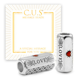 """1 x C.U.S® sieraden message beads """"luck"""" & evil eye Antiek zilver (nikkelvrij)"""