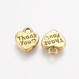 """10 stuks tibetaans zilveren """"Thank you"""" 12 x 10 x 2mm oogje: 2mm goudkleur"""