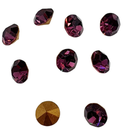 10 x Swarovski puntsteen SS24 Gold Foiled Amethyst  5,2mm