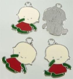 2x Tibetaans zilveren hanger van een baby 26x18mm rood groen