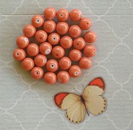 10 stuks Keramische glaskralen  12mm orange
