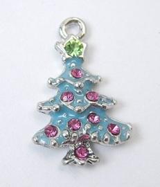 2x Schitterende kerstbedel van een kerstboom met strass  15 x 23 x 4mm gat 2mm