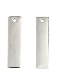 2 x metalen naamlabel hangers rechthoek 31x8mm nikkelkleur