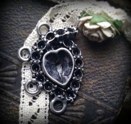 Per stuk Luxe kastje hanger/tussenzetsel hart 32 mm