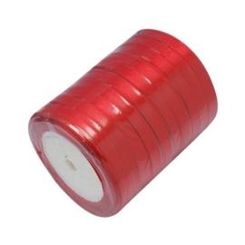 2 meter satijnlint lint 7 mm breed (smal) rood