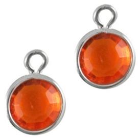 2 x DQ facethanger gekleurd Zilver-orange 7x10 mm
