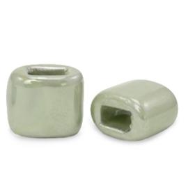 1 x C.U.S sieraden schuiver DQ Grieks keramiek 11x12mm Green slate