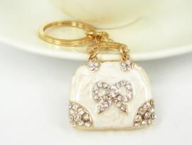 Prachtige sleutelhanger met kristal strass in de vorm van een tas Lengte 10cm x 4cm