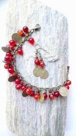 """Armband met oorbellen """"rode besjes"""" ♥"""