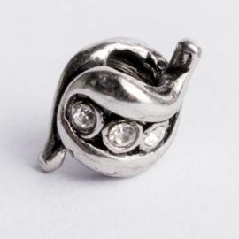 Be Charmed kraal zilver met een rhodium laag (nikkelvrij) c.a.9x 10mm groot gat: 4mm