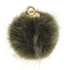 2 x Pompom bedels faux fur 16mm goud Groen