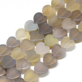 2 x hart kraal van grijze agaat 10 x 10 x 5mm gat: 1,5mm