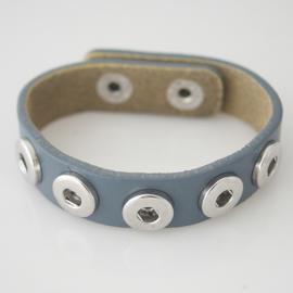 Armband leer grijs 22 cm