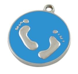 Emaille bedeltje, muntje met voetjes 23 x 20 x 2 Gat: 1,5mm blauw