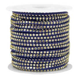 1 meter Imitatie leer 3mm met goud aluminium studs Gold-dazzling blue