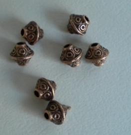 10 stuks Tibetaans zilveren tussenzetsel kraal 7mm x 6mm rood koper kleur