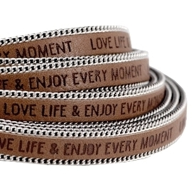 20 cm Quote imi leer 10mm met schakelketting zilver Love life Rust brown ♥