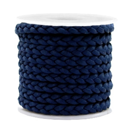 1 meter Trendy plat koord gevlochten silk style 5mm Donker blauw