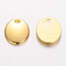 10 stuks blanco tibetaans zilveren bedeltjes 10 x 8 x 1mm Gat: 1,5mm goud kleur