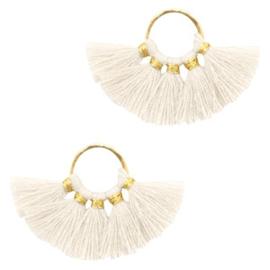 Kwastjes hanger Gold-ivory white
