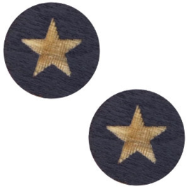 1 x Houten cabochon star 12mm Dark blue
