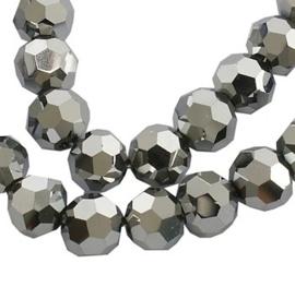 25 stuks facetkralen (AB) 5mm zilver, gat 0,5mm