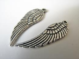 4 stuks tibetaans zilveren Engelen vleugel 16 x 5 x1mm gat 1mm