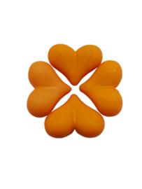 5 x Acryl kraal met hart Oranje 17 x 22 x 10 mm; Gat 2 mm