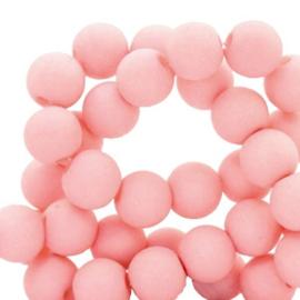 30 x  8 mm acryl kralen matt Salmon pink