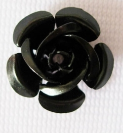 25 stuks aluminium roosjes 15 x 9mm, gat 1 mm Zwart