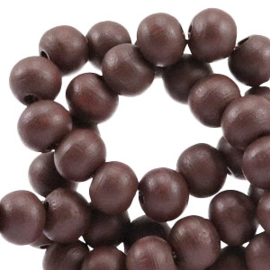 20 keer	 Houten Kralen Rond 6 mm Dark rich brown