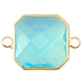Crystal glas tussenstukken vierkant 16x16mm Aqua blue opal-Gold