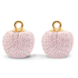 Pompom bedels met oog glitter 12mm Light pink-gold