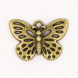 4 x Prachtige tibetaans zilveren bedel van een vlinder 18 x 25 x 2mm Gat: 2mm geel koper