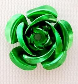 25 stuks aluminium roosjes 15 x 9mm, gat 1 mm Groen