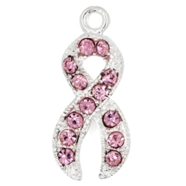 Pink Ribbon bedeltje met strass 20 x 10mm