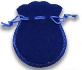 10 x Luxe blauwe cadeau zakjes met koordje 65 x 75mm mini (op = op!)