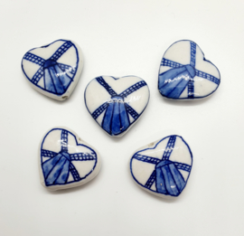 5 stuks grote Keramiek Delfts blauwe kralen porcelein hart 26 x 28mm gat: 1,2mm