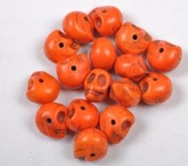 10 keramiek Howlite skulls oranje c.a. 10mm Gat: 1mm