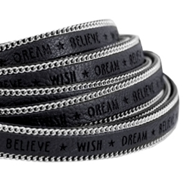 20 cm Quote imi leer 10mm met schakelketting zilver Wish dream believe Black grey