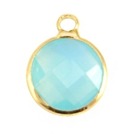 Crystal glas hanger rond 12mm Aqua blue opal-Gold
