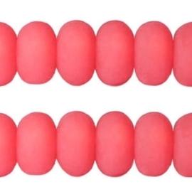 Per stuk Polaris kralen matt disc 8mm Paparacha roze