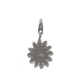 Zon met Strass 925 Sterling Zilveren Bedel met karabijnsluiting