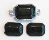 4 x plaksteen glas rechthoek Zwart 14 mm  (excl. houder)