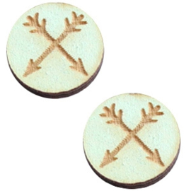 2 x Houten cabochon basic 12 mm arrows Sea green