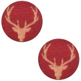 1 x Houten cabochon reindeer 12mm Cherry red