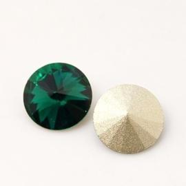 5 x Puntsteen Rivoli Preciosa voor Puntsteen SS50 Setting c.a. 12mm emerald